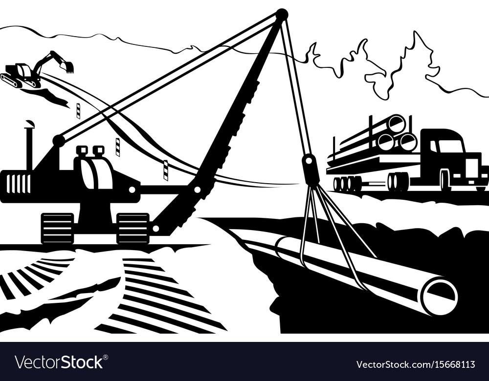 Construction of pipeline through mountain