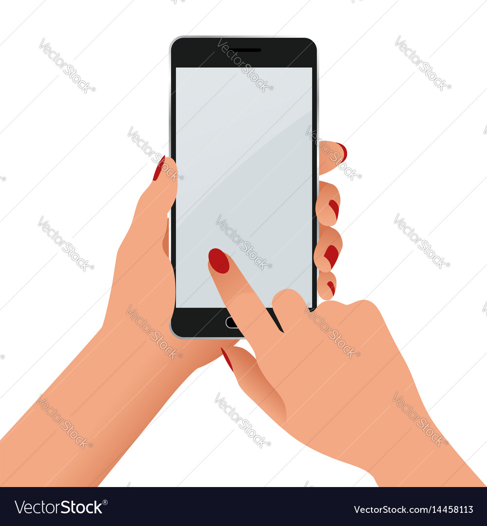 Female hand holding a phone with blank screen