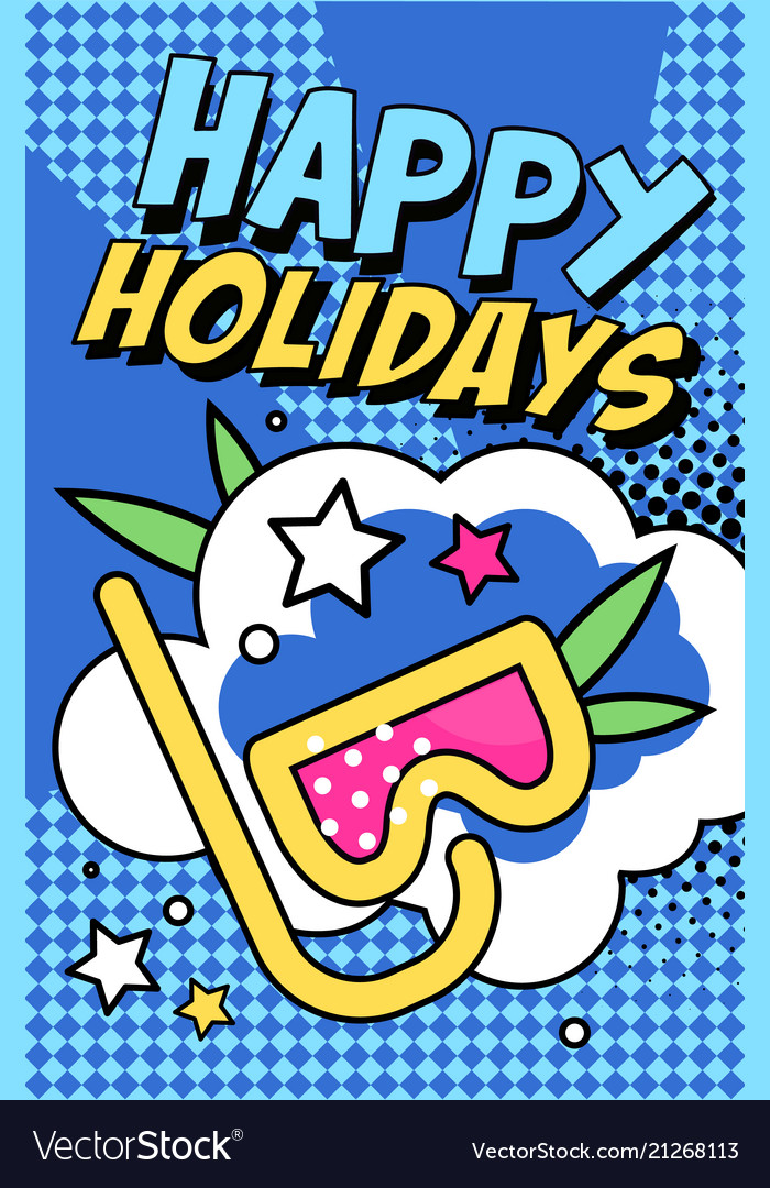 Happy holidays banner bright retro pop art style