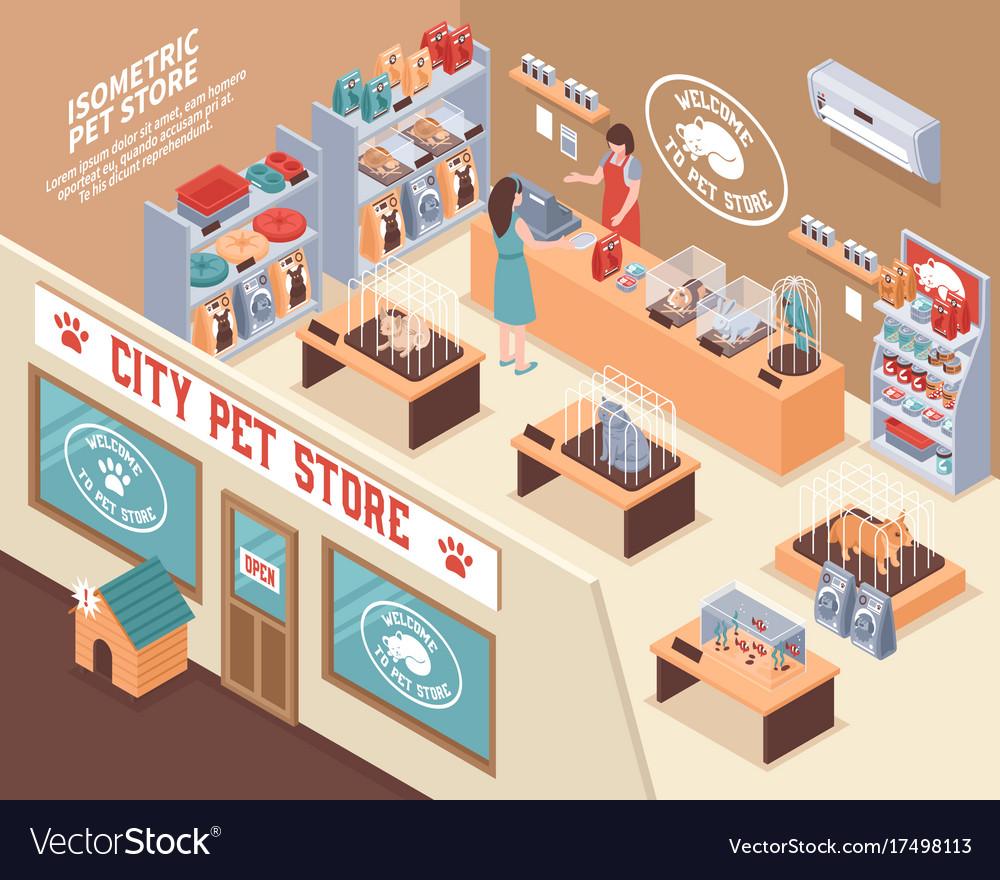 Isometric pet shop composition