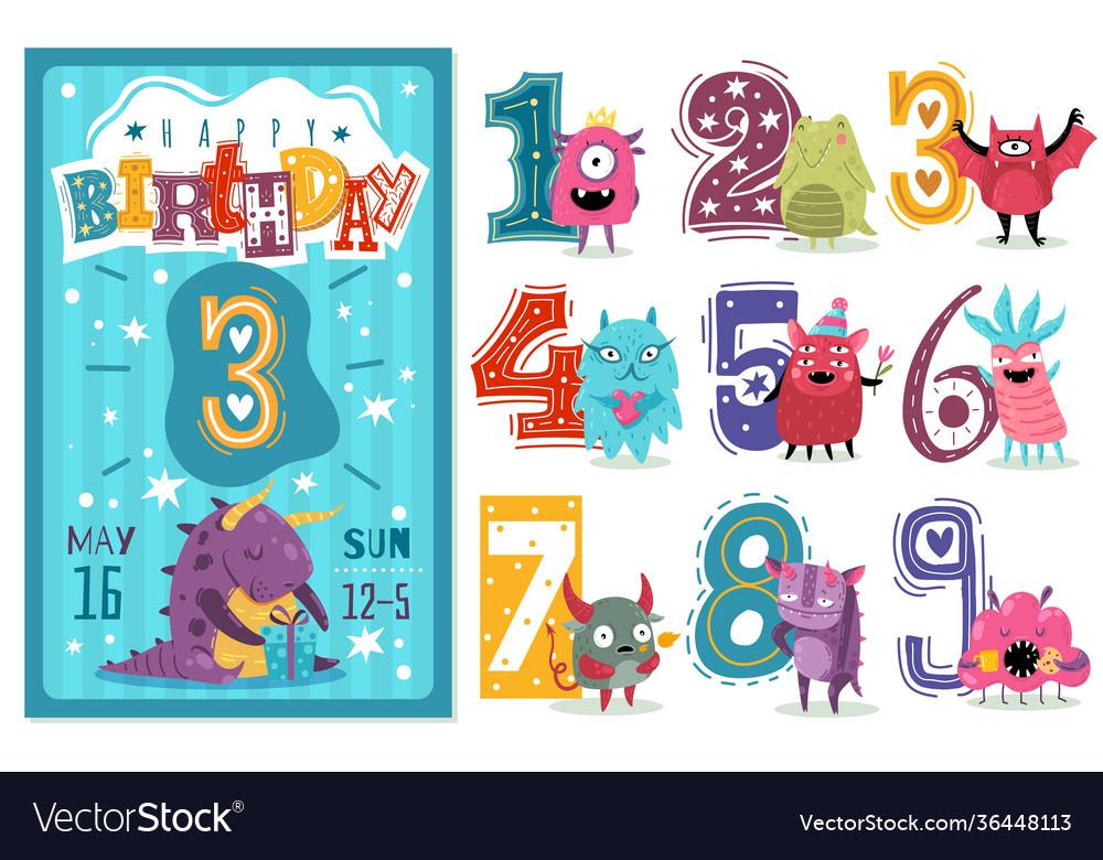 Kids anniversary numbers children birthday party