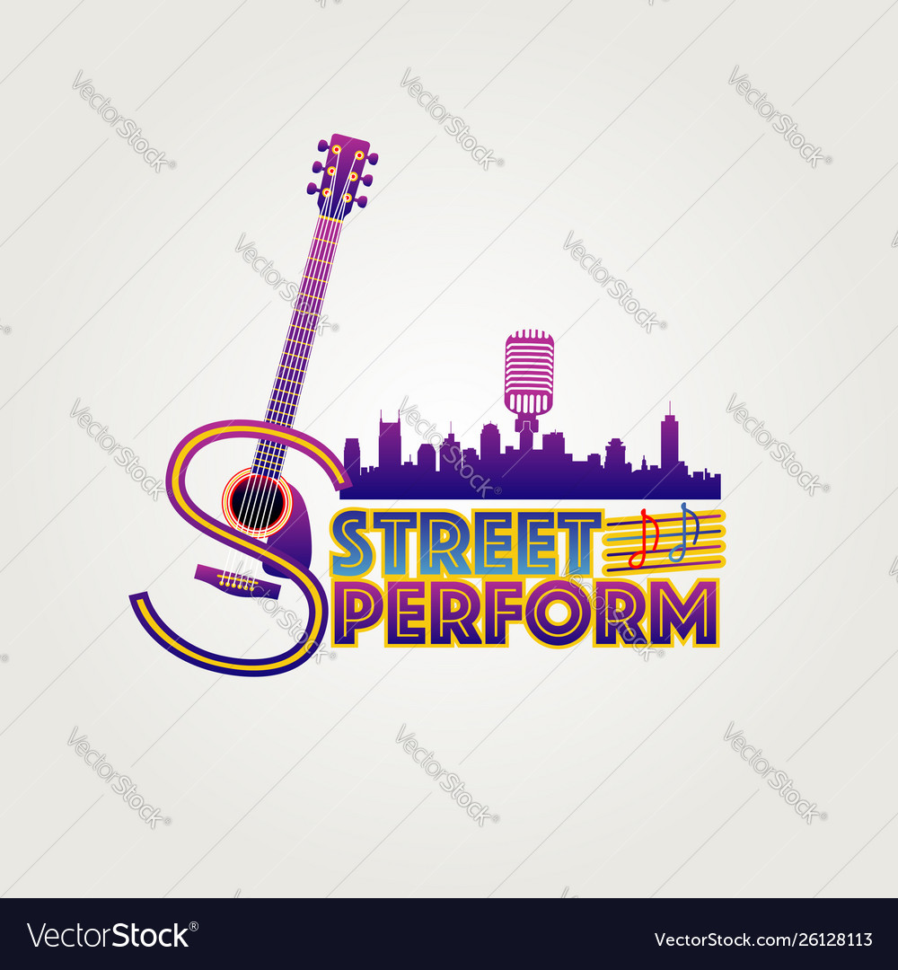 Neon style street perform logo symbol