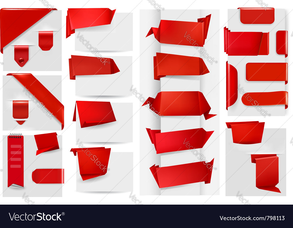 Origami paper elements vector image