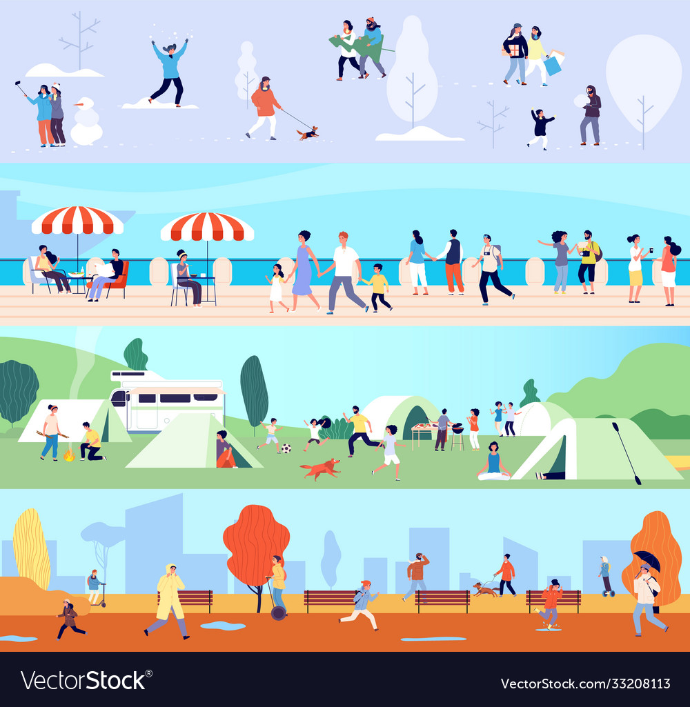 People outdoor activities seasonal walking man
