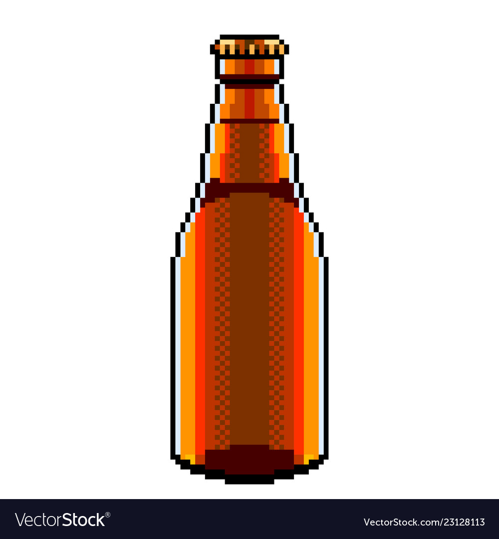 Pixel beer bottle detailed isolated