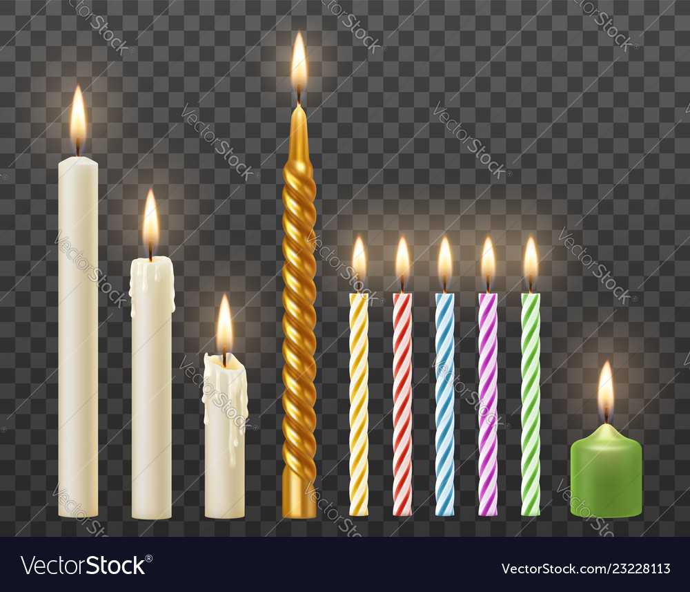 Realistic burning candles set