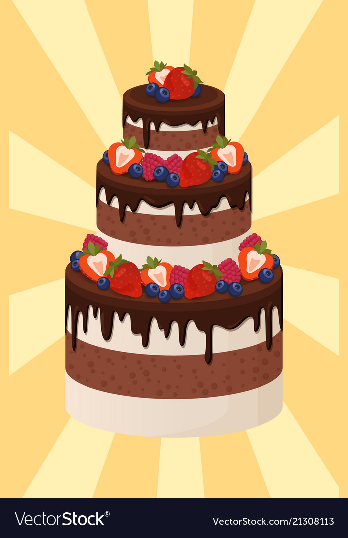 Incredible Three Tier Cake With Chocolate And Cream Layers Vector Image Funny Birthday Cards Online Elaedamsfinfo