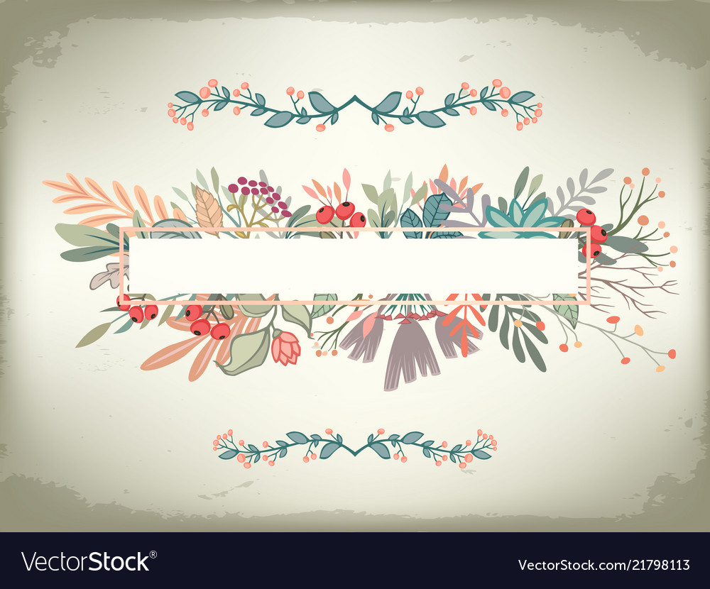 Vintage romantic horizontal card with floral frame