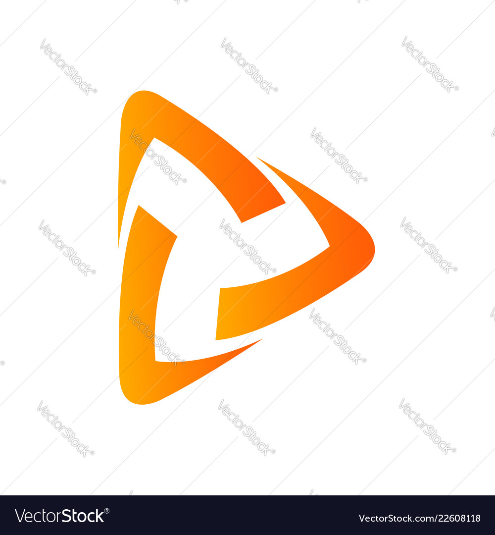 Abstract triangle play application icon design