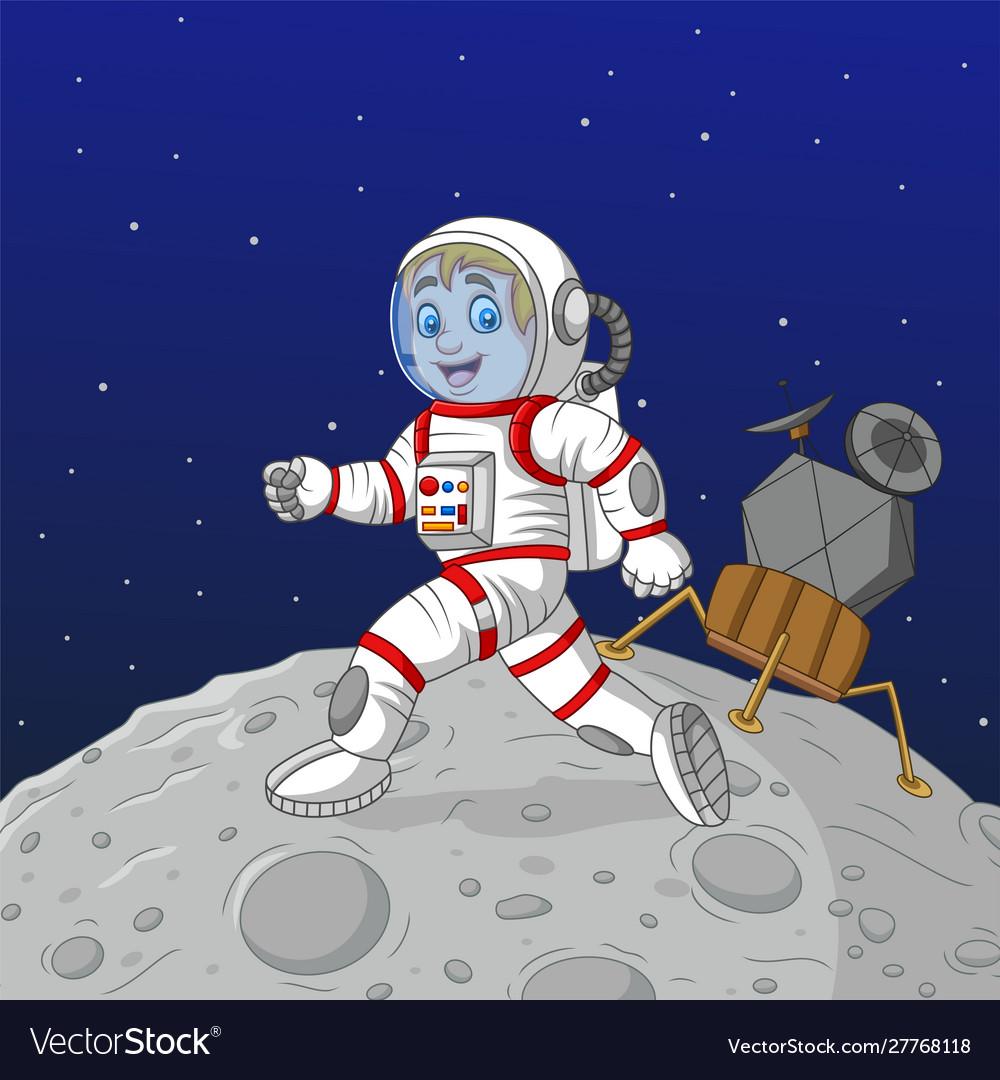 Cartoon boy astronaut walking on moon