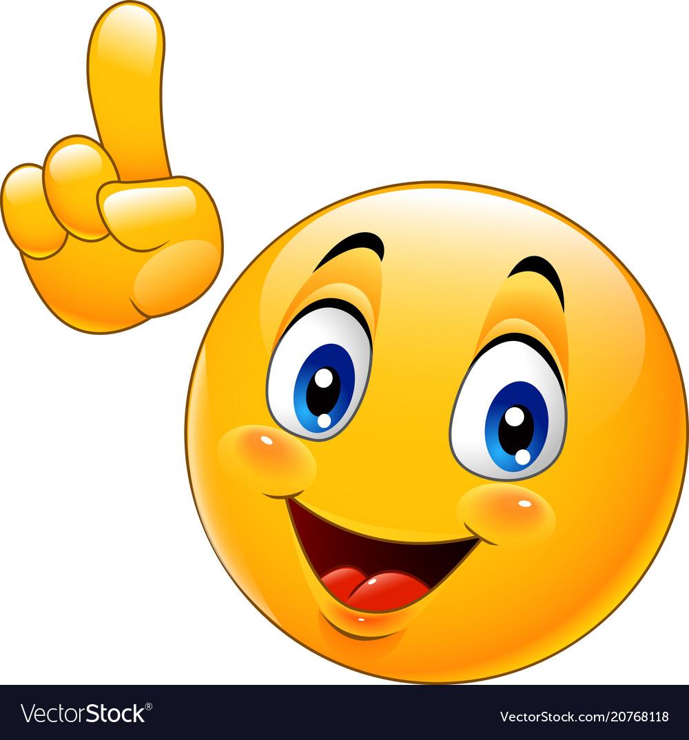 Cartoon smiley emoticon making a point vector image