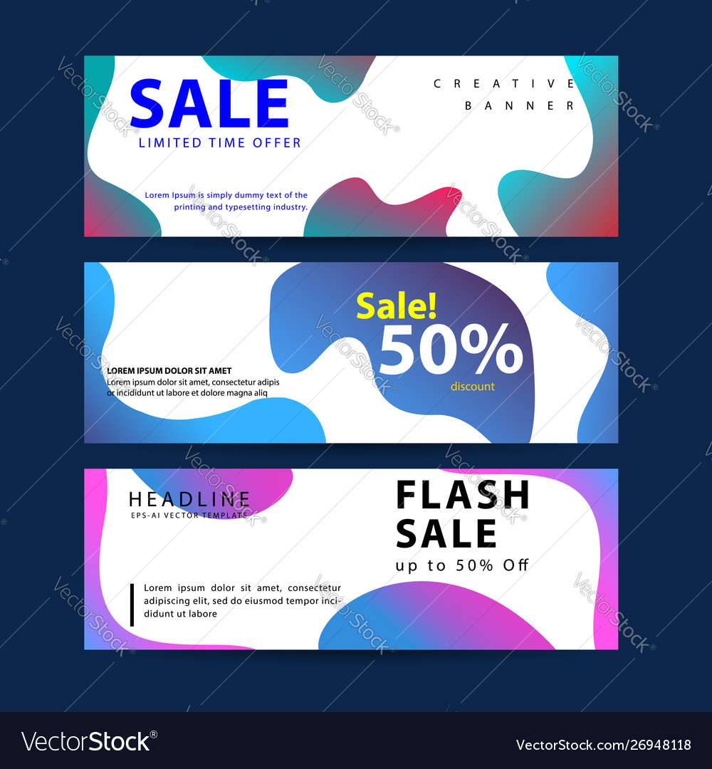 Design for horizontal banners set web banners