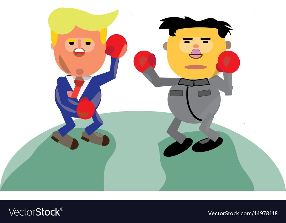 Donald trump vs kim jong-un vector image