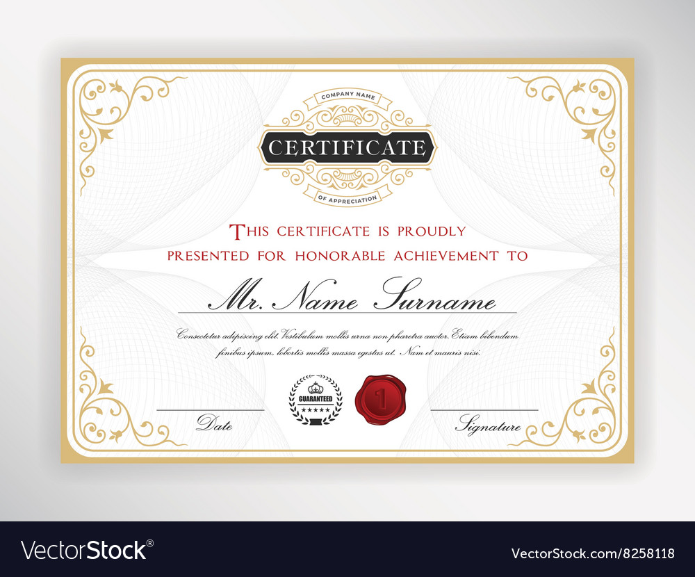 Elegant certificate template design Royalty Free Vector