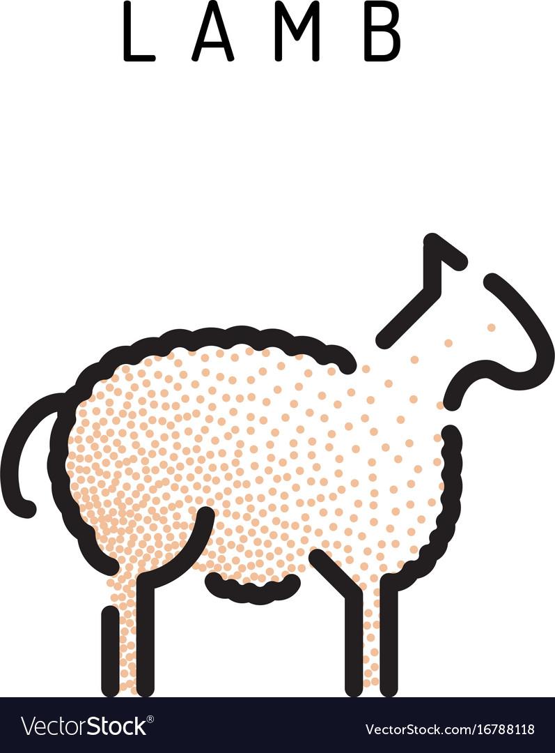 Lamb lamb outline icon vector image