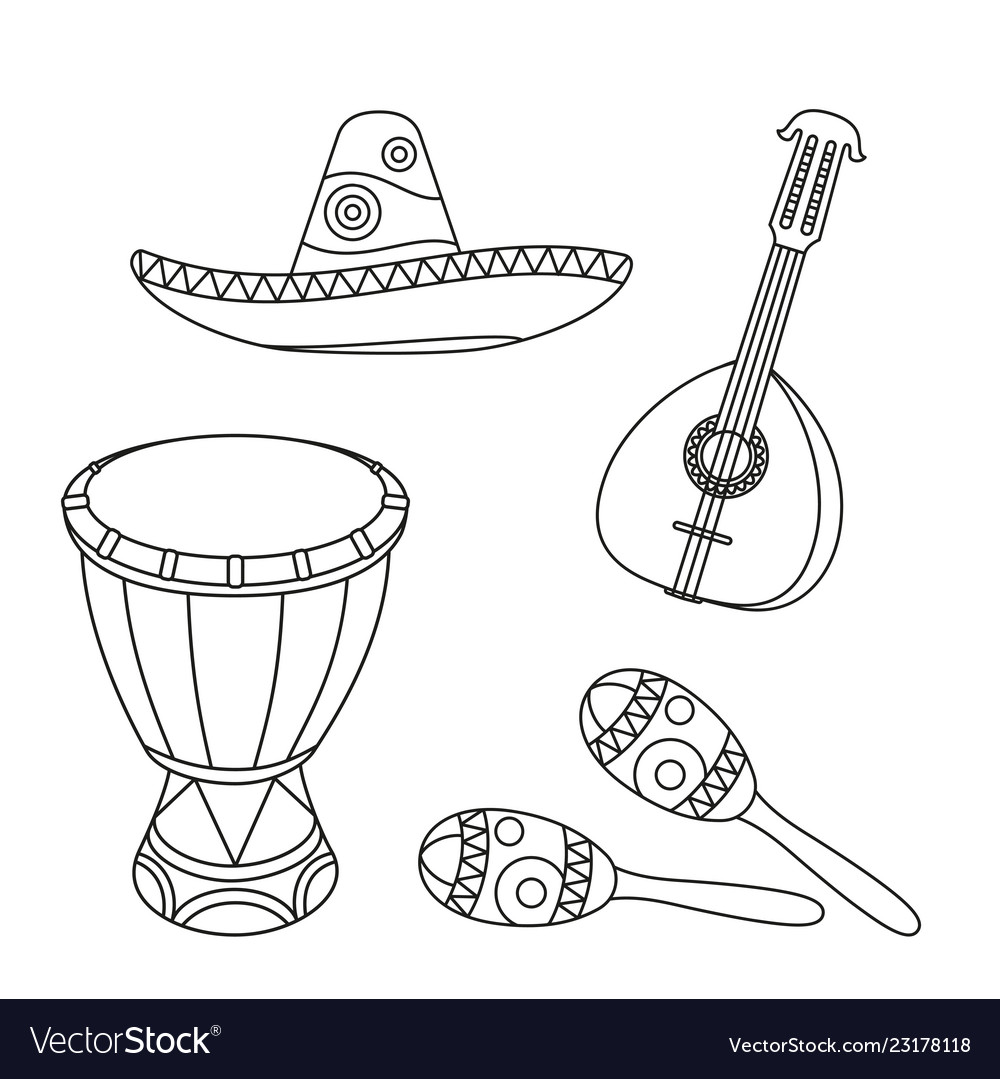 Line art black and white mexican music set vector image