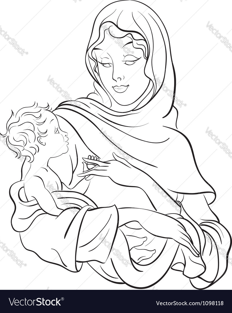 Mary Coloring Page Vector Images 27