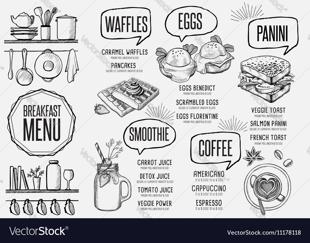 Menu Breakfast Restaurant Food Template Placemat