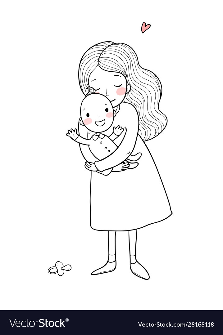 Mom and baby cute cartoon woman and baby
