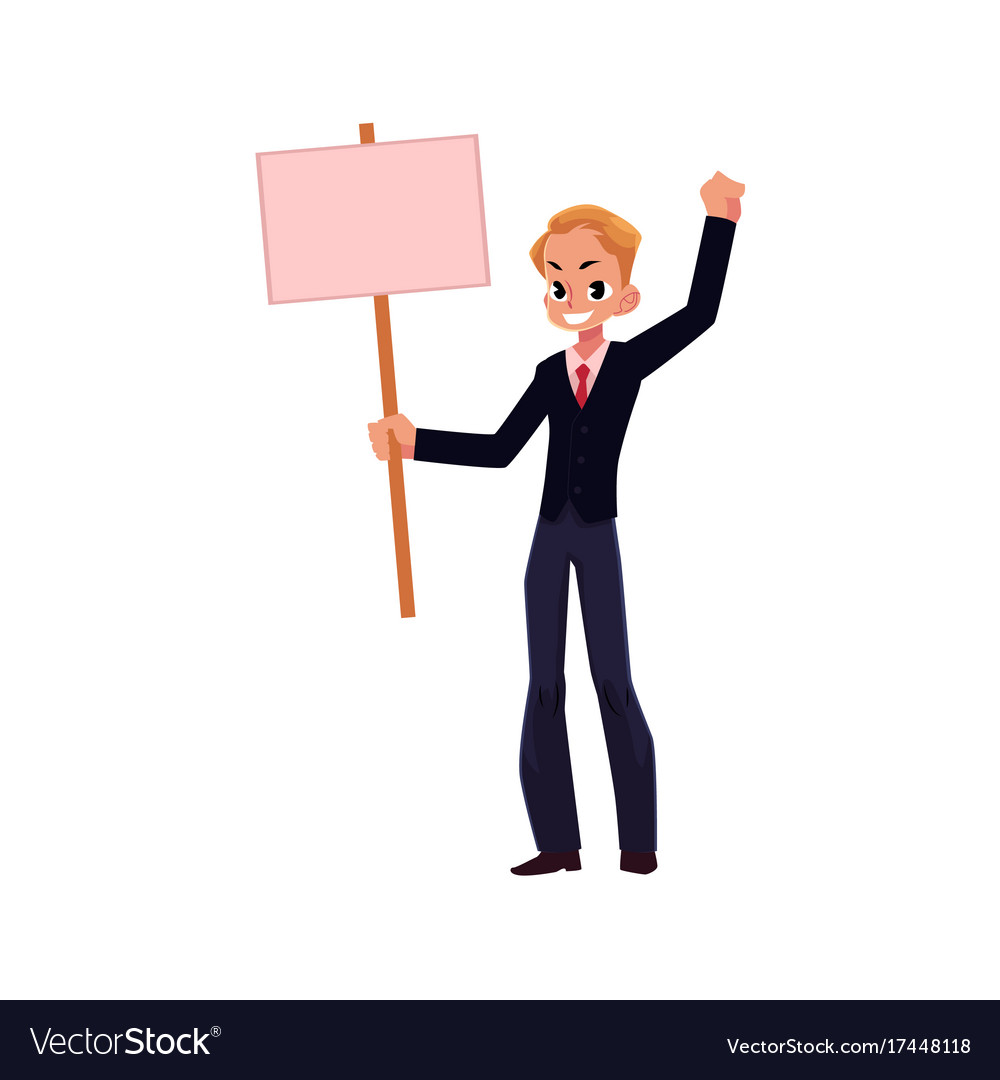 Office worker with blank pink placard