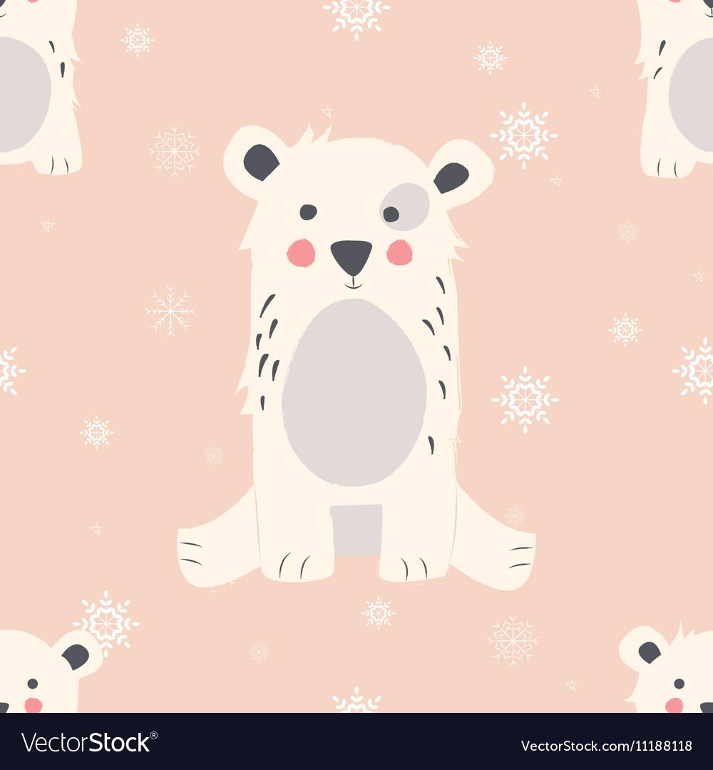 Seamless Merry Christmas pattern with polar bear