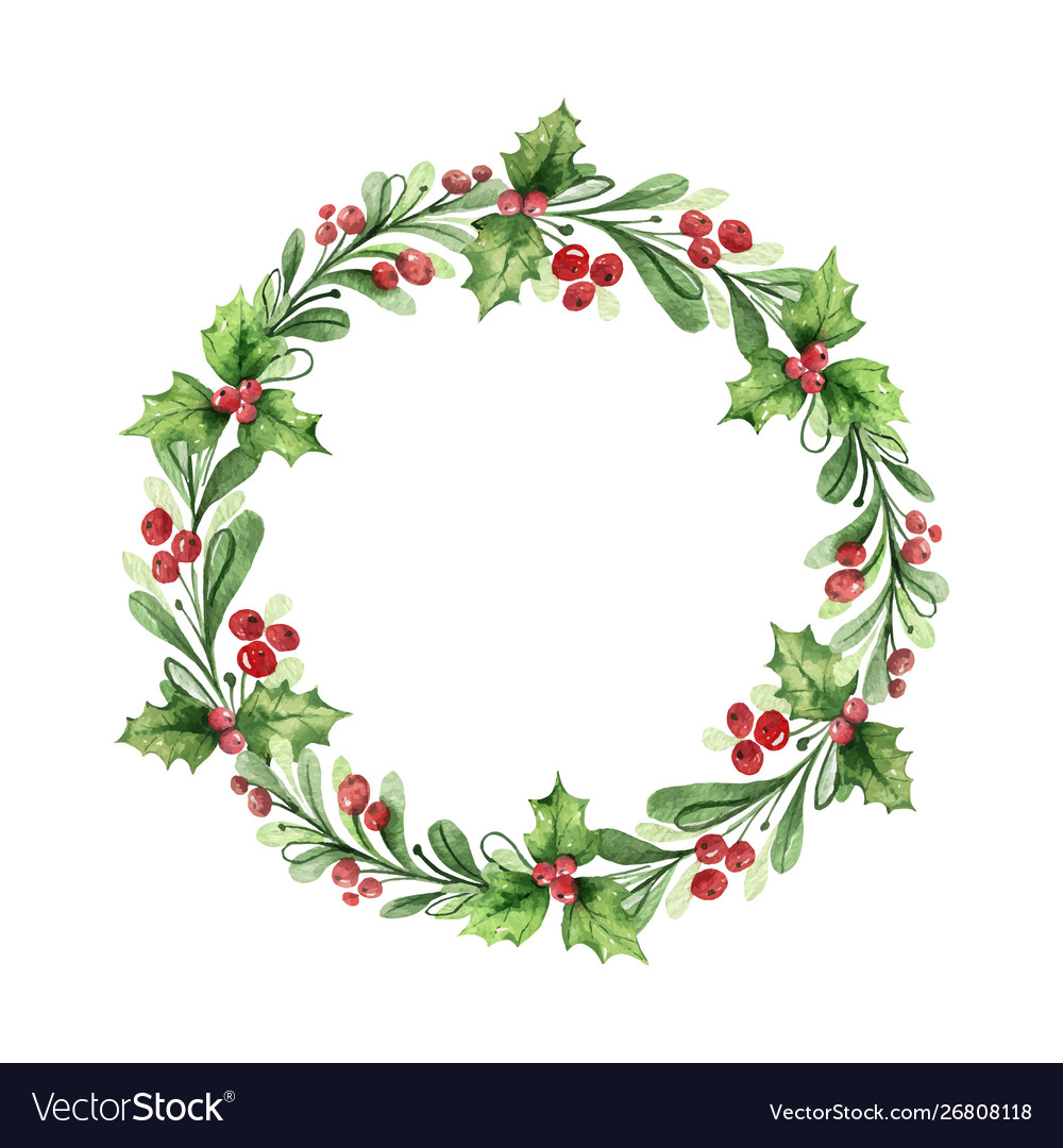 Watercolor christmas wreath with green