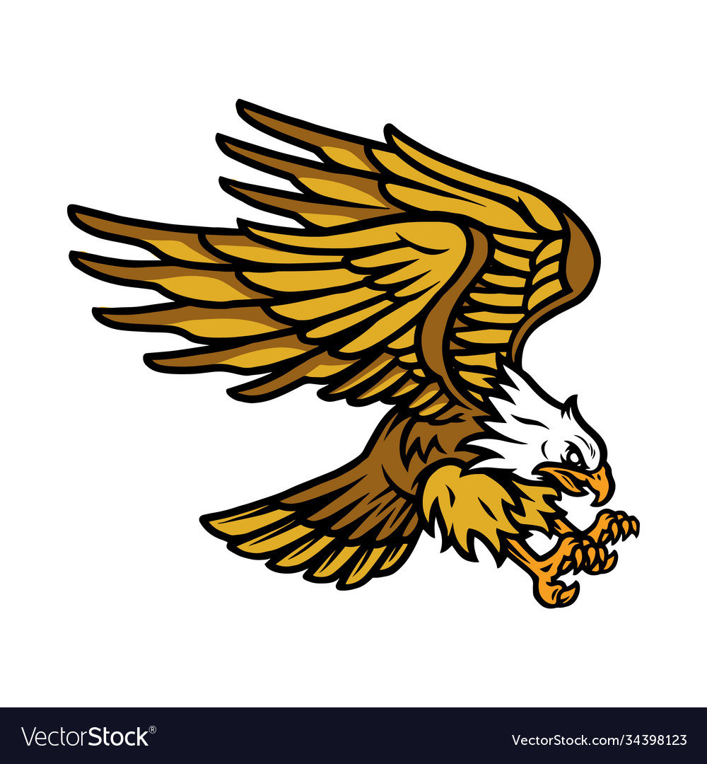 Big flying eagle vintage concept vector