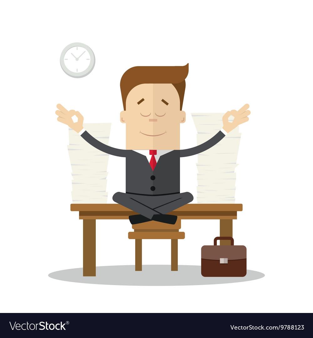 Cartoon businessman or manager meditating doing