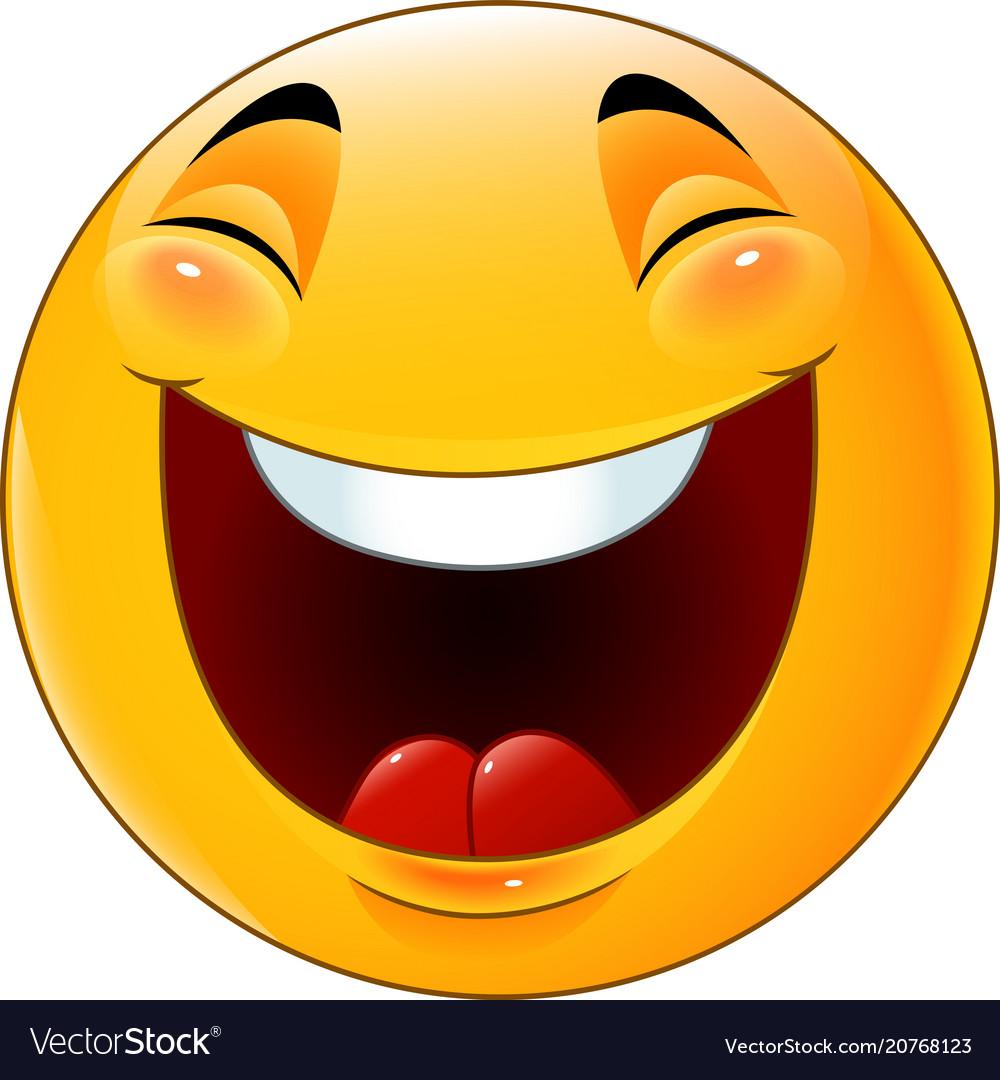 cartoon smiley emoticon laughing royalty free vector image