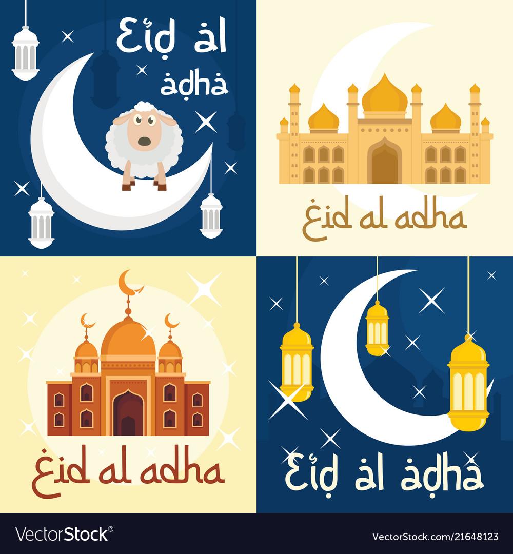 Eid al adha festival banner set flat style