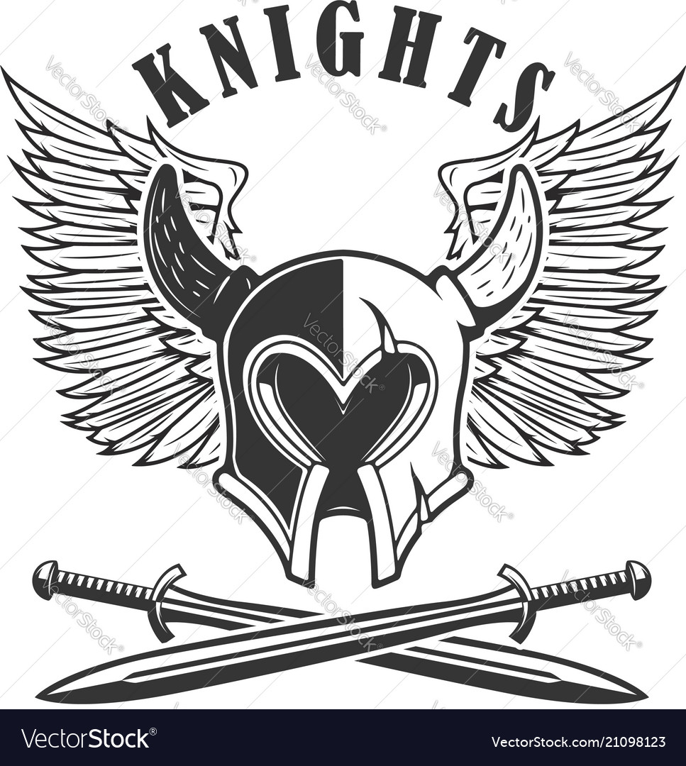 emblem template with medieval knight helmet and vector image