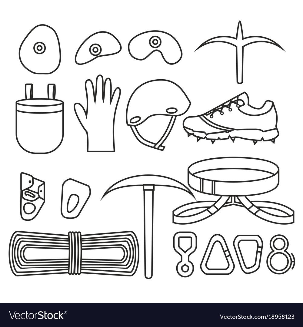 Flat design elements of rock climber