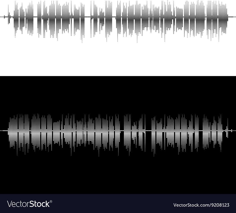 Halftone square elements sound waves