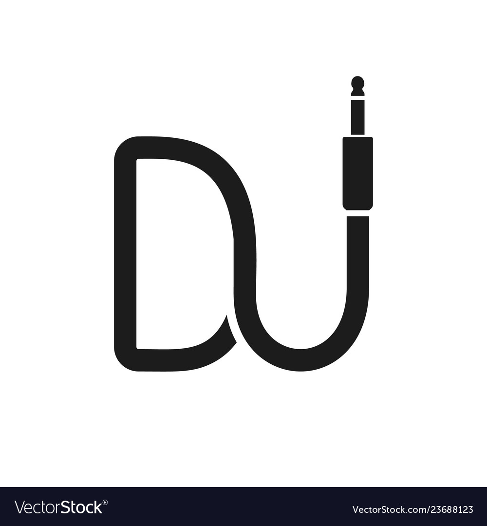 Isolated dj logo wire cable audio jack music