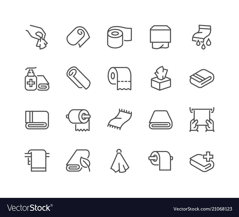 Line towels and napkins icons