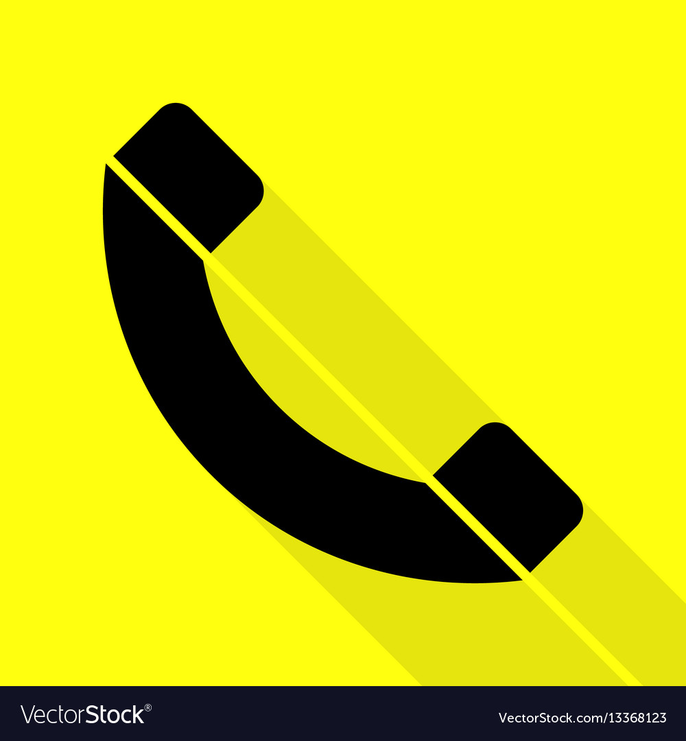 Phone sign black icon with flat