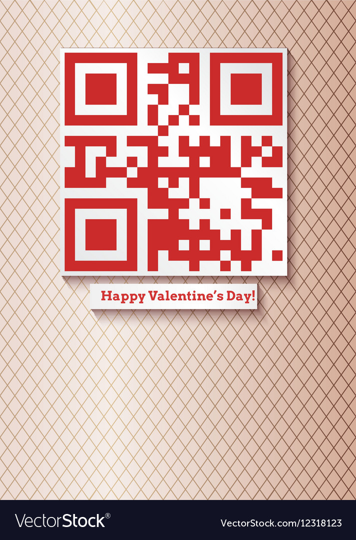 Postcard with qr-code for happy valentines day