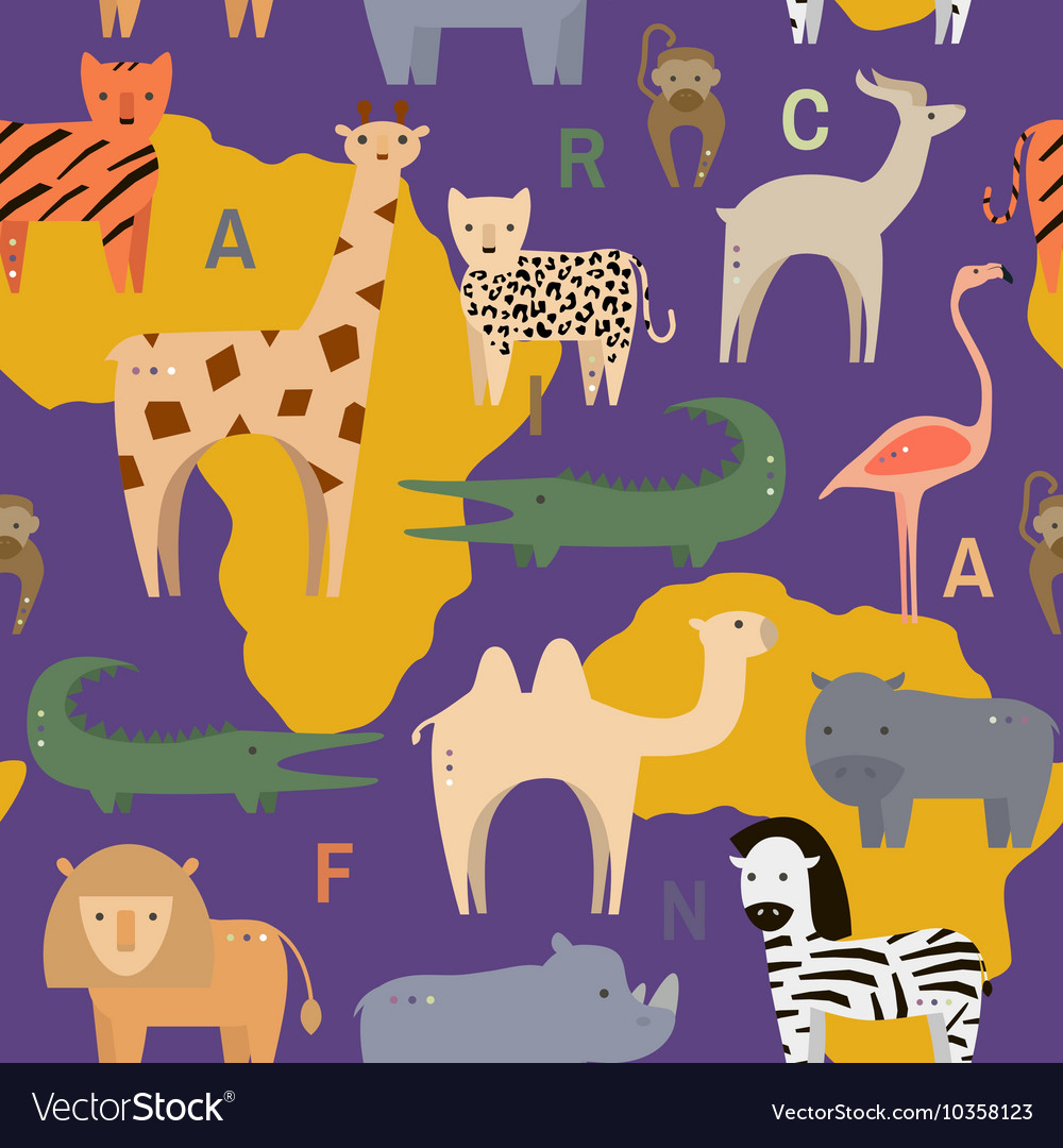 Seamless pattern with African animals in flat