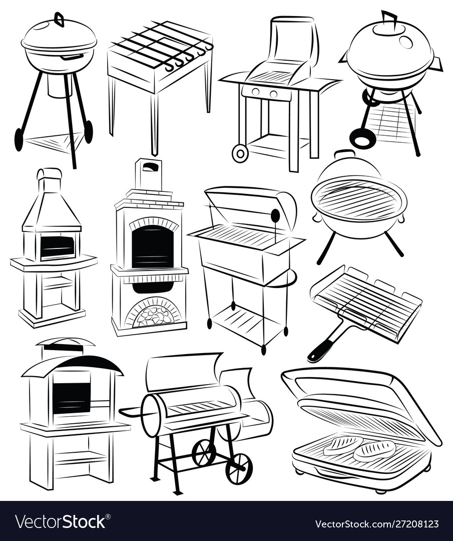 Set barbecue grills collection braziers