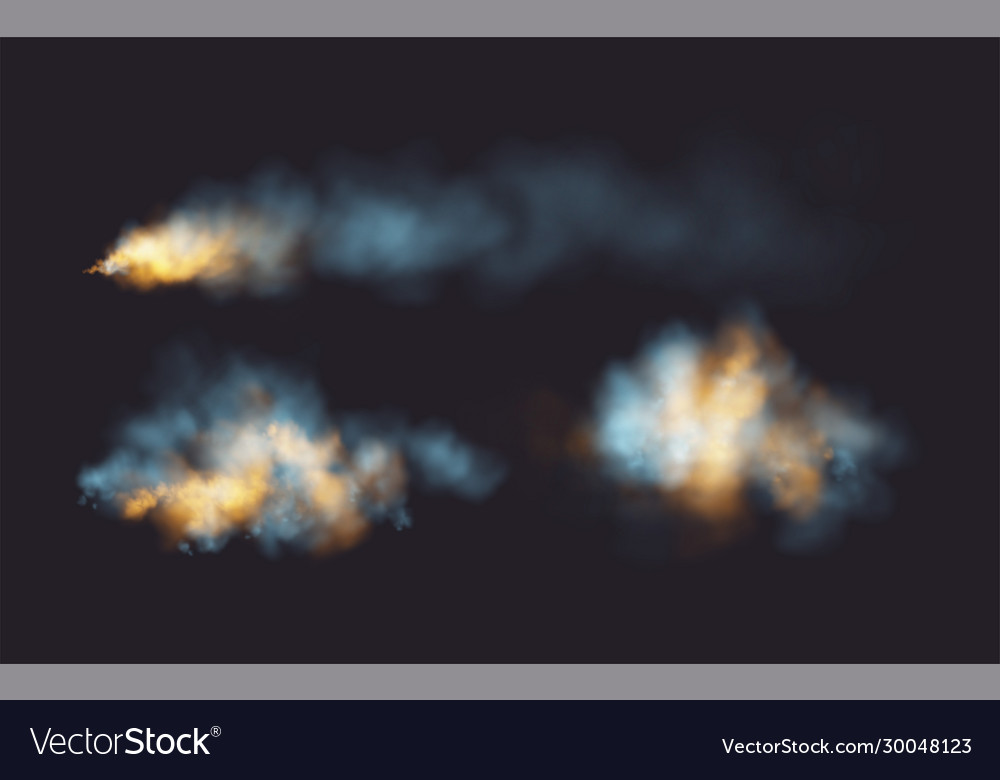 Set Realistic Smoke And Fire Shapes On A Black Vector Image