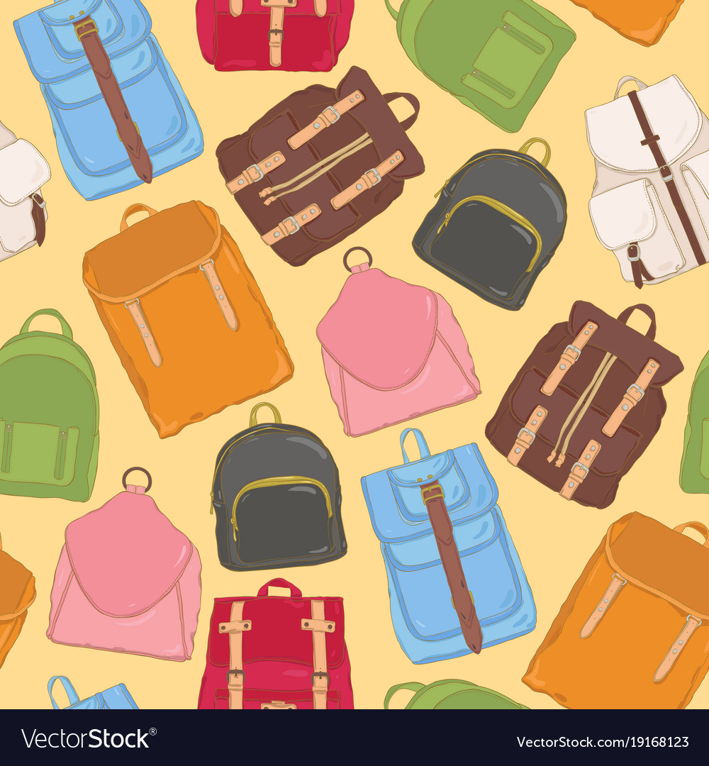 Trendy seamless pattern with backpacks or Vector Image 5eda2beb4515b