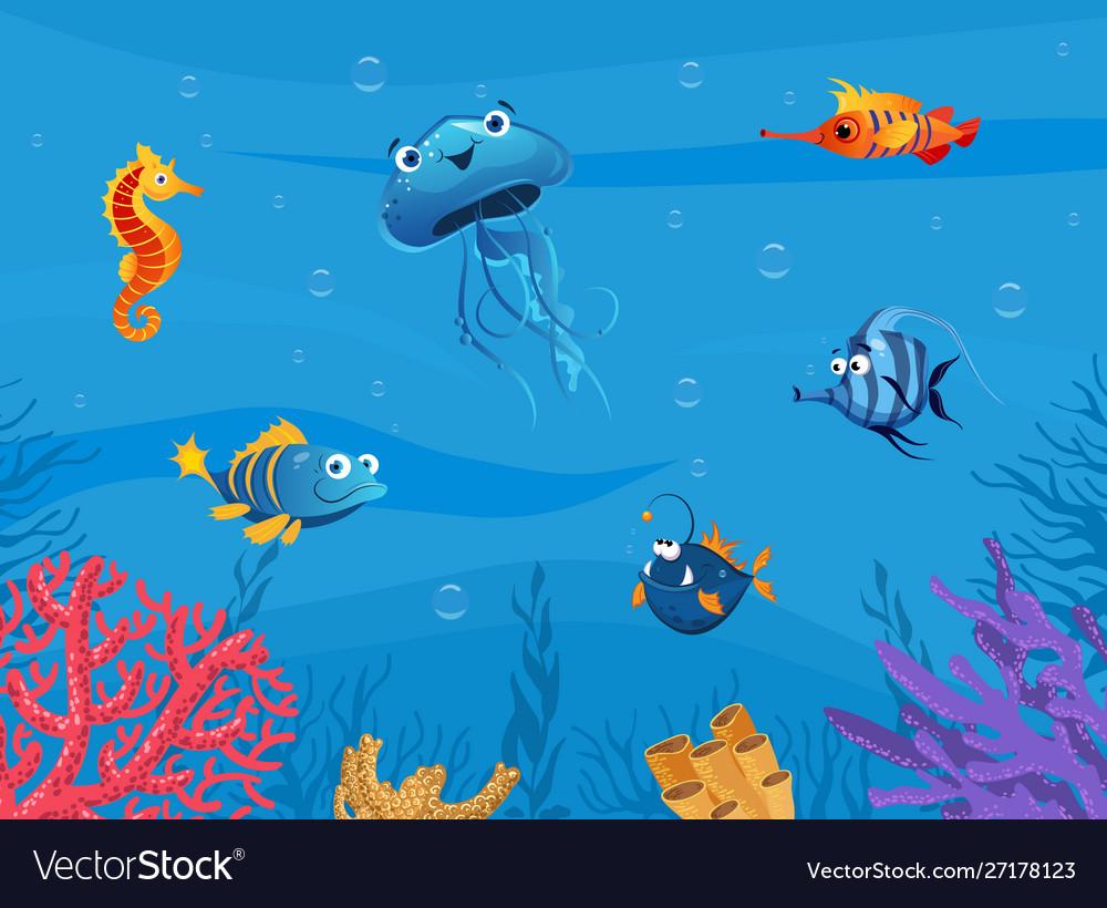 Undersea world cute marine animals background