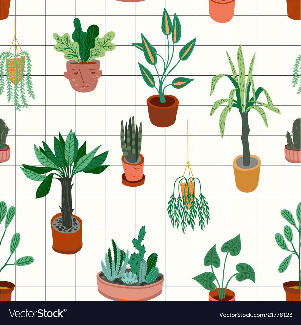 Urban jungle seamless pattern with trendy