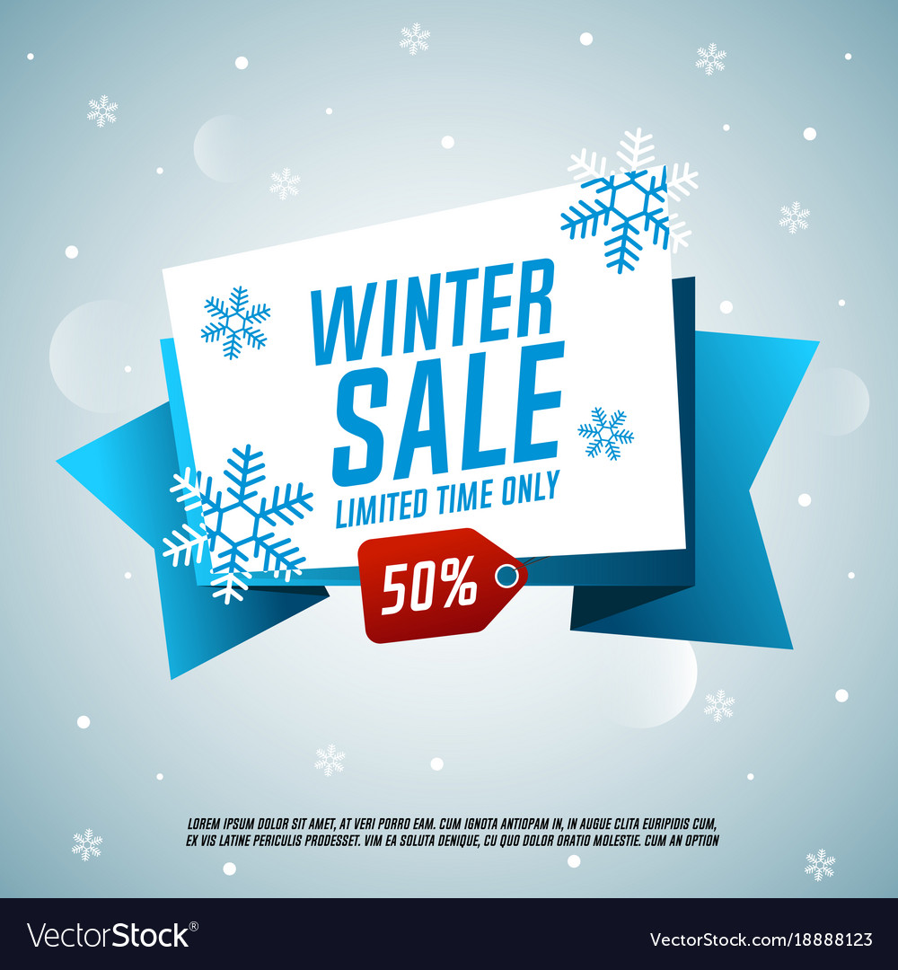 Winter sale origami banner