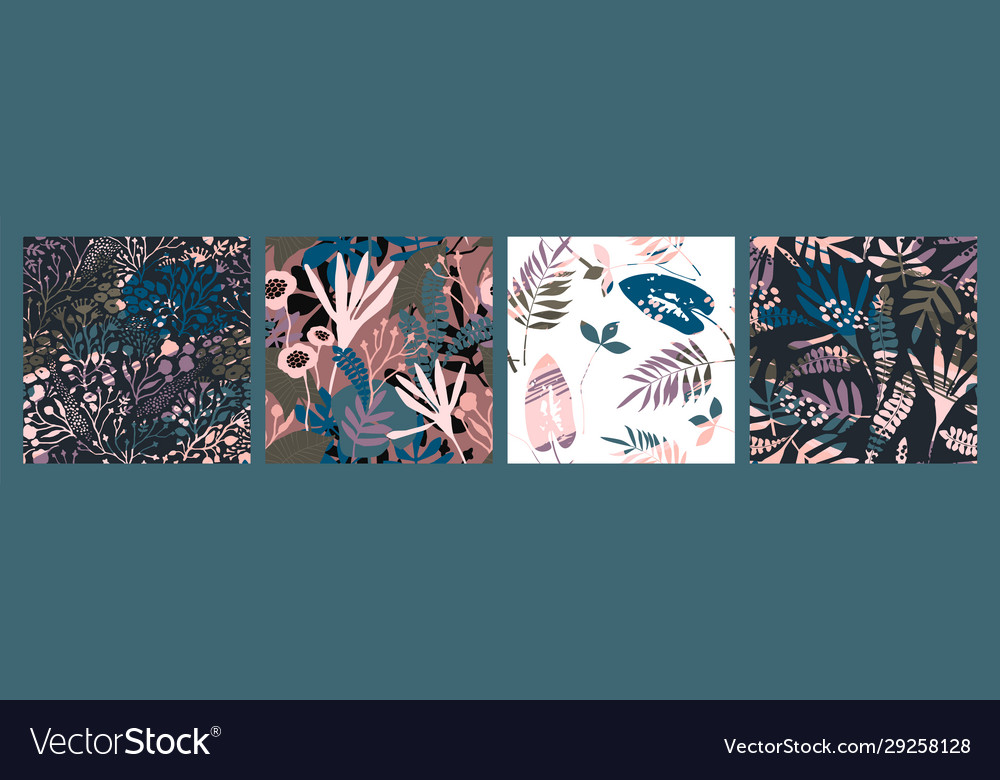Abstract floral seamless patterns with trendy hand