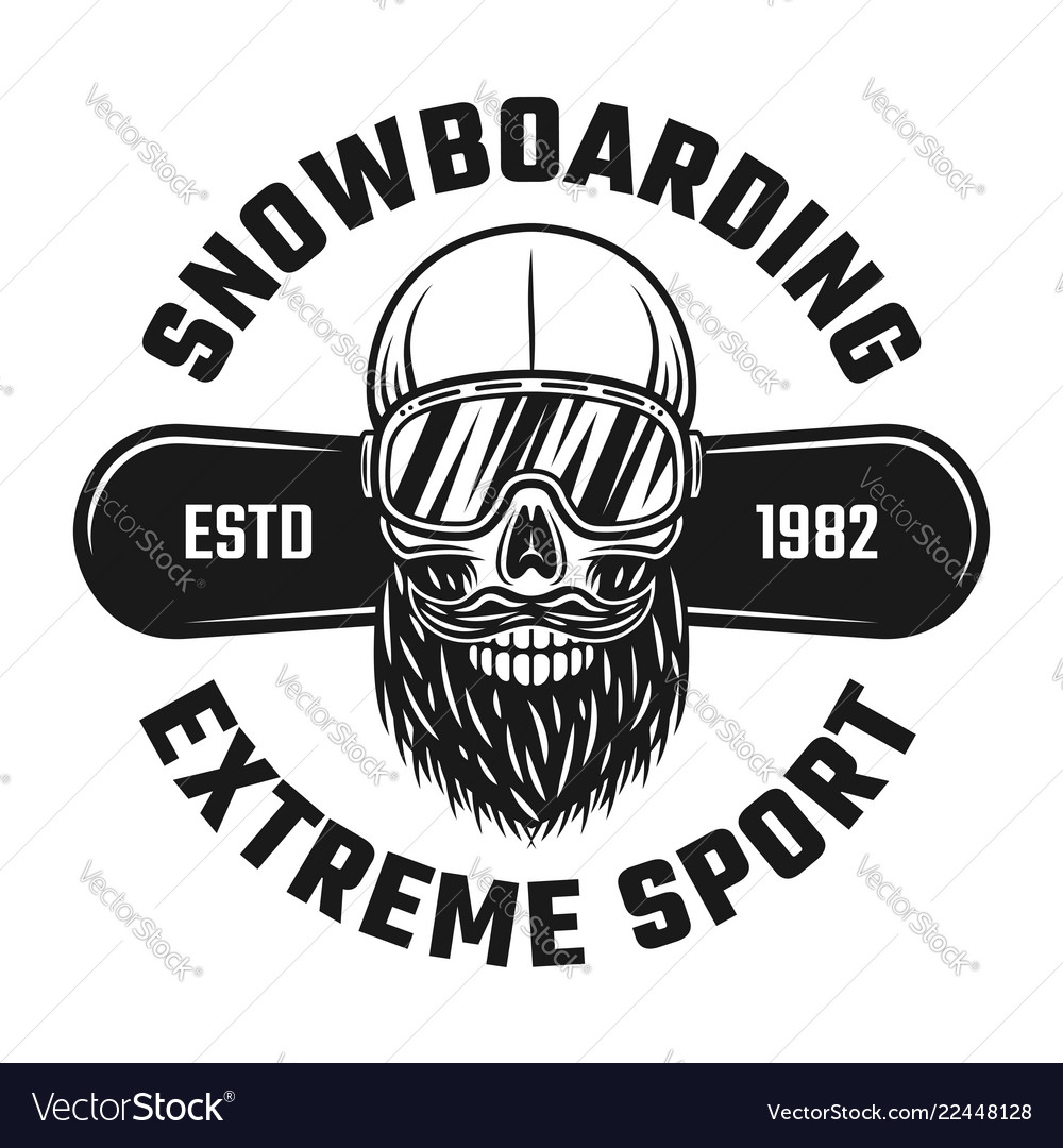 Bearded skull of snowboarder in ski glasses emblem
