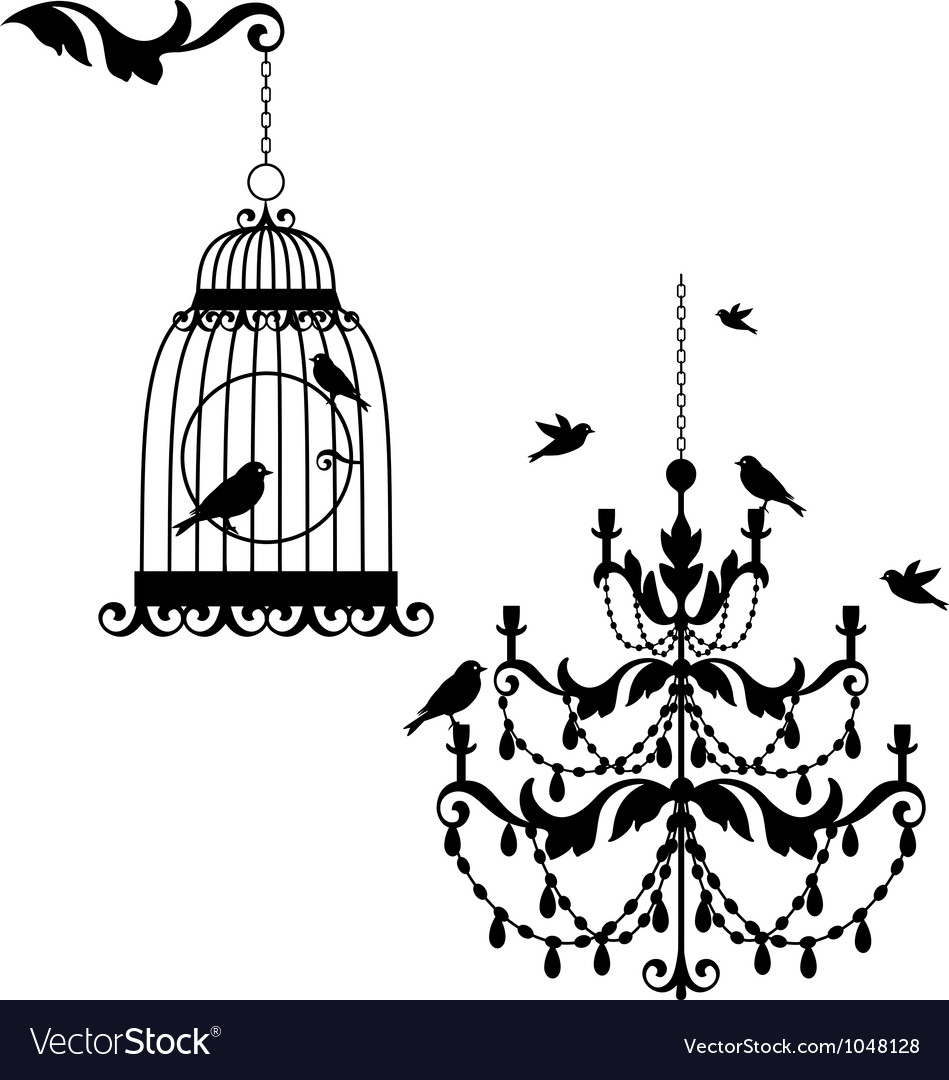 Birdcage and chandelier