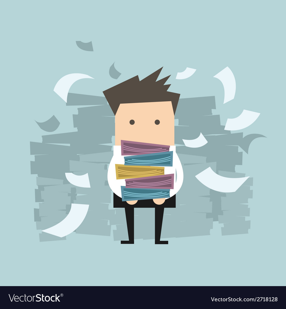 Businessman carrying folders and paper falling vector image