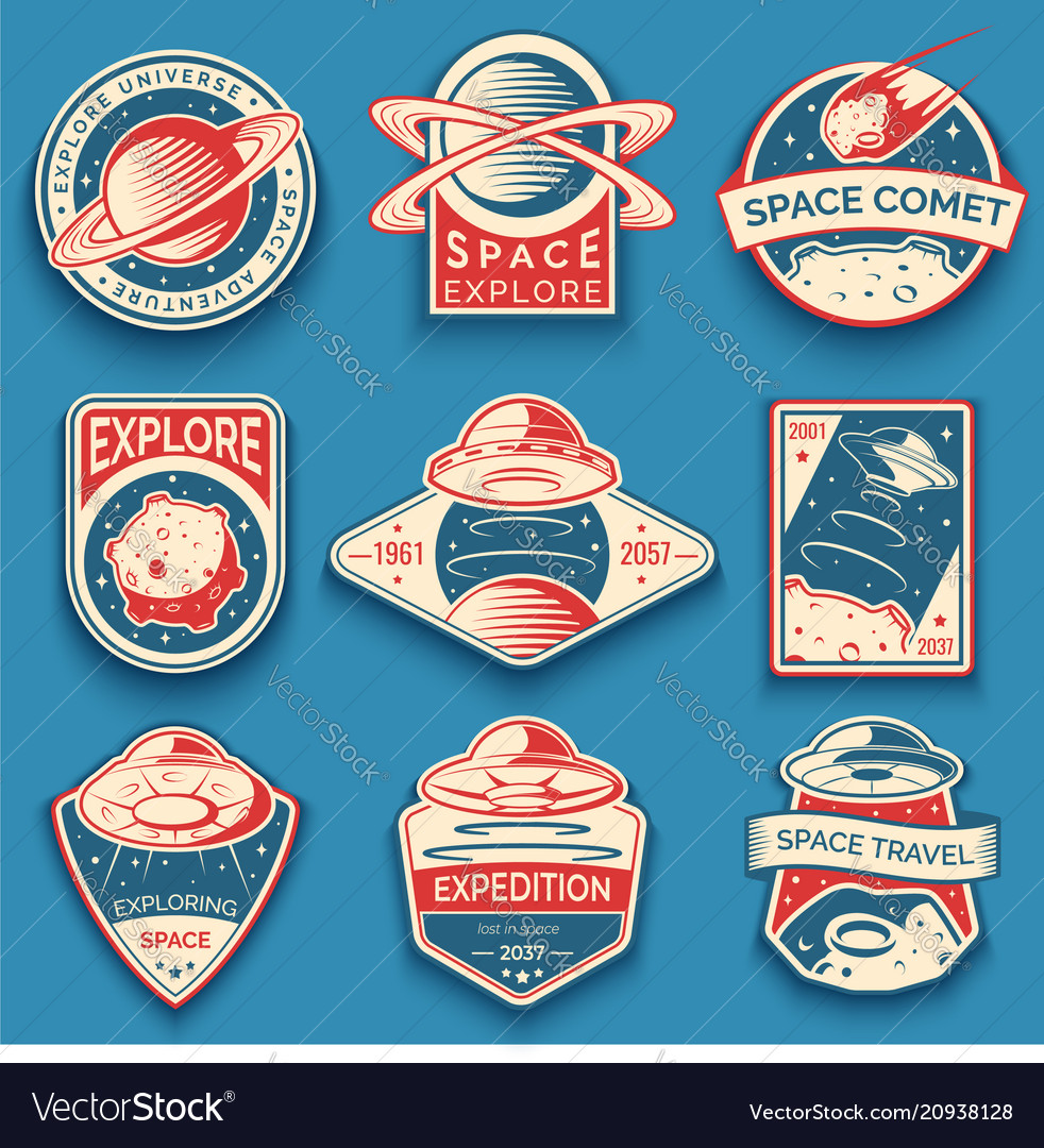 Colorful space ufo and planet labels logos