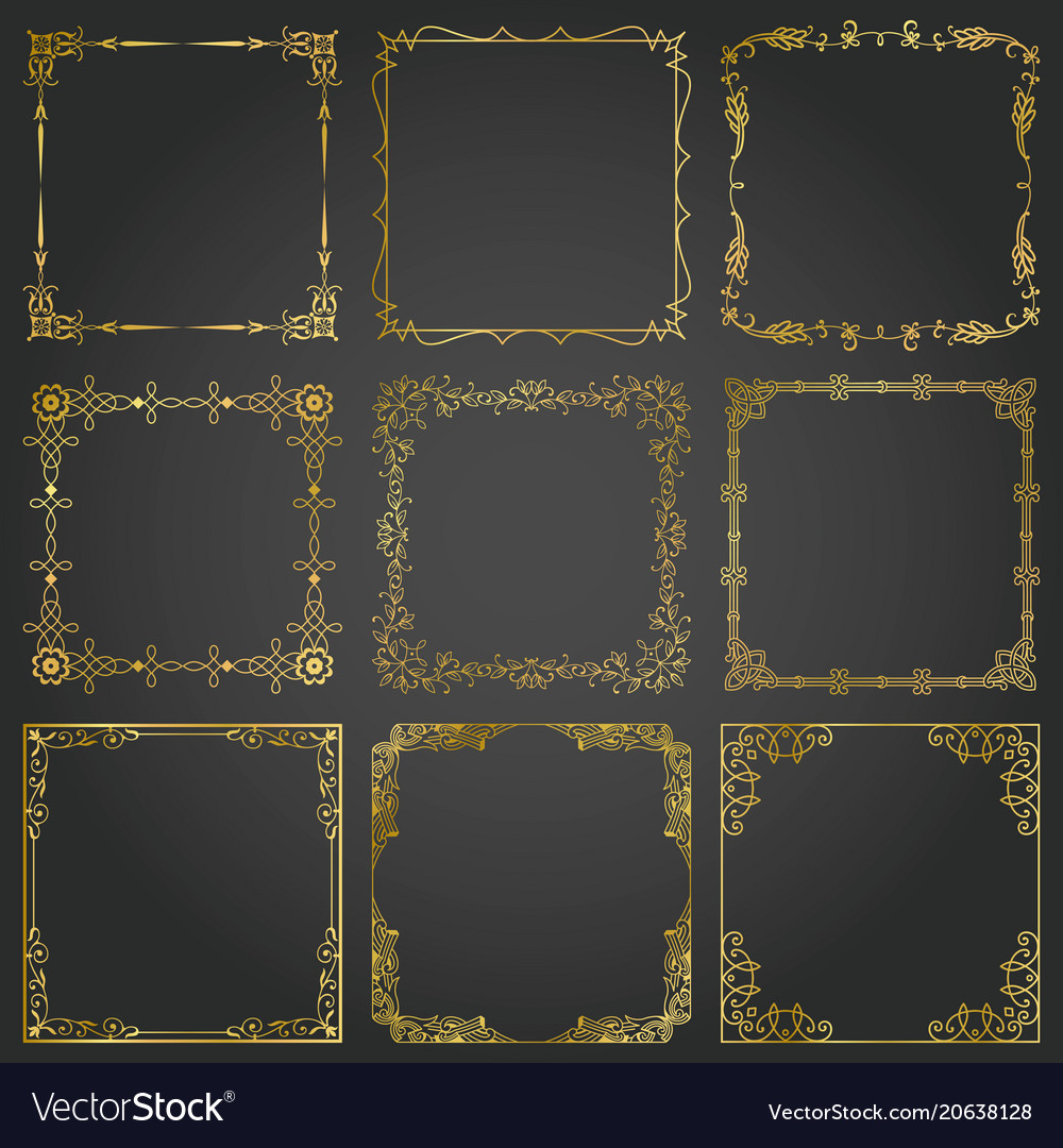 Decorative gold frames and borders square set